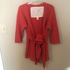 Anthrop. CANARY Graceful Pointe Red/Coral Cardigan